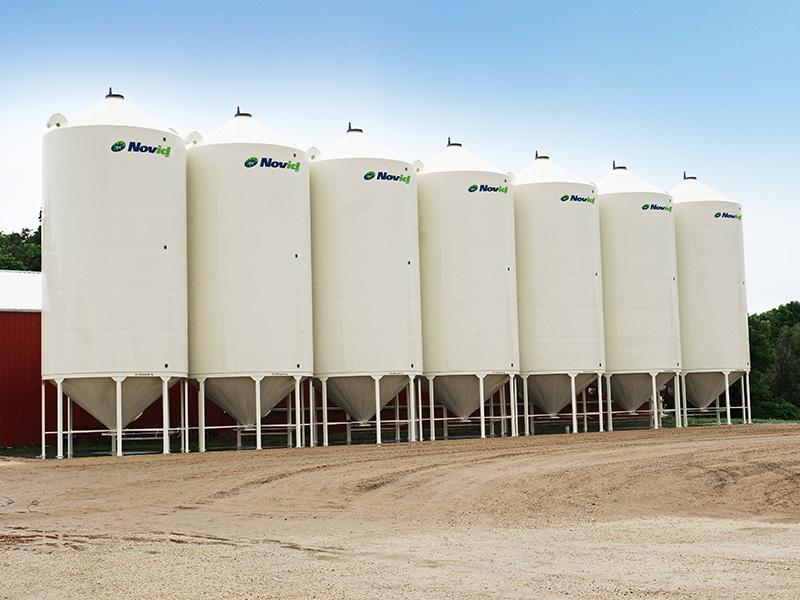 row of 7 smooth wall bins
